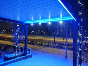 Terrasoverkapping met led verlichting in Deventer
